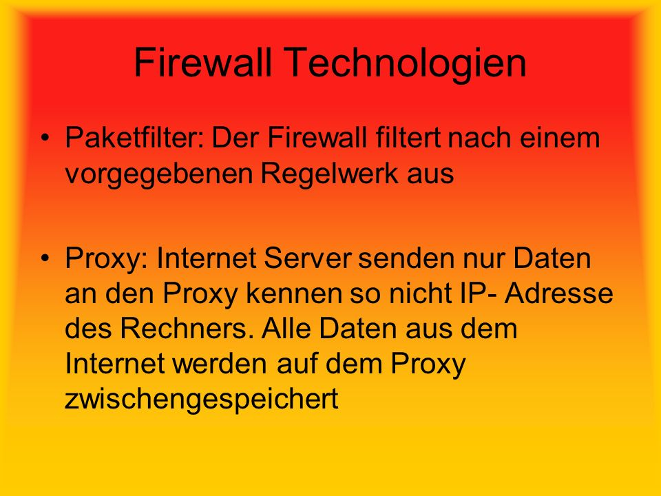 Firewall Technologien