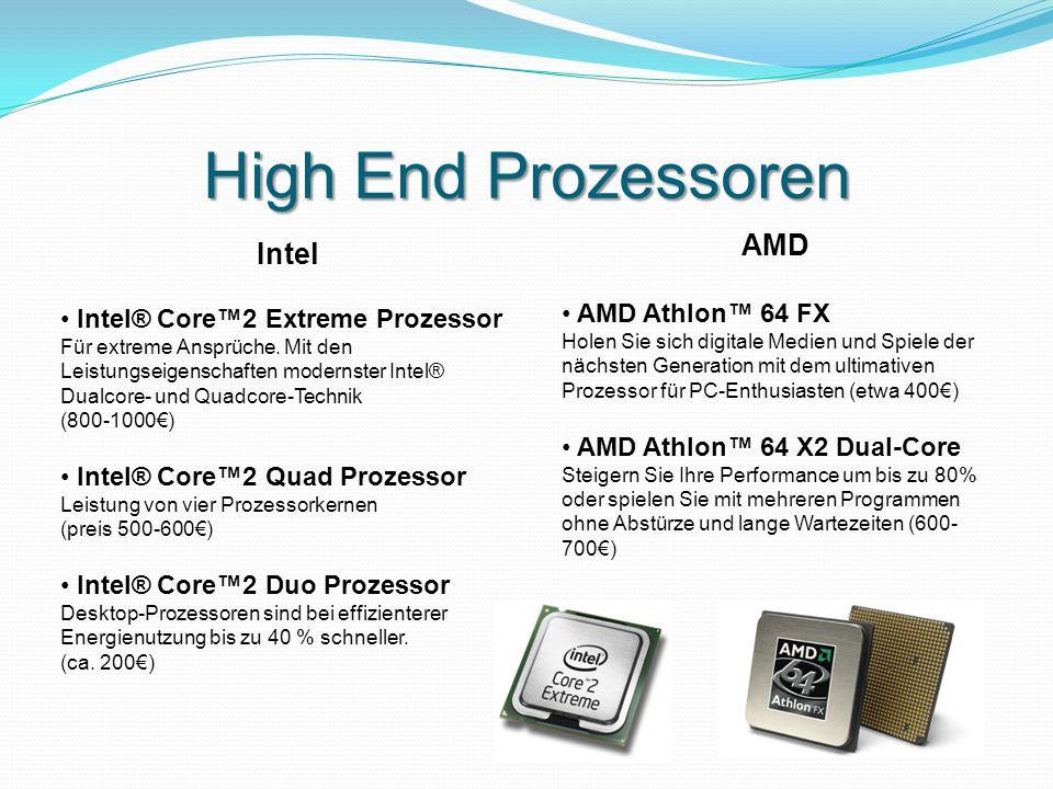 High End Prozessoren AMD Intel AMD Athlon™ 64 FX