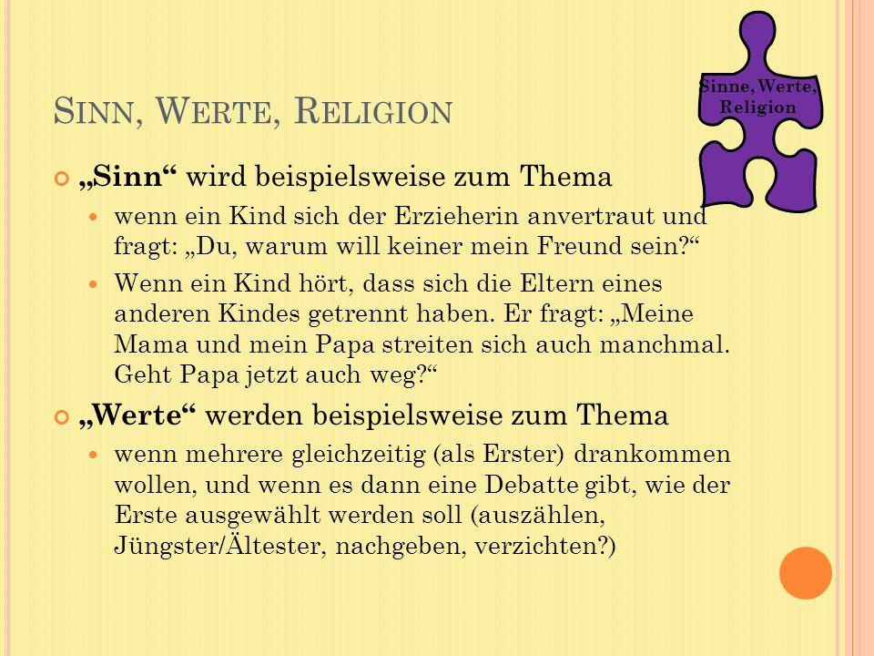 """Sinn, Werte, Religion """"Sinn wird beispielsweise zum Thema"""
