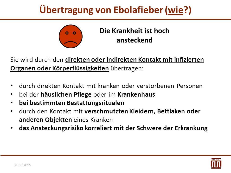 Übertragung von Ebolafieber (wie ) Die Krankheit ist hoch ansteckend