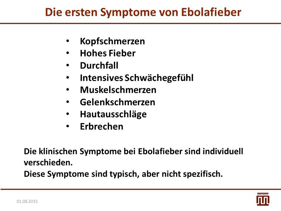 Die ersten Symptome von Ebolafieber