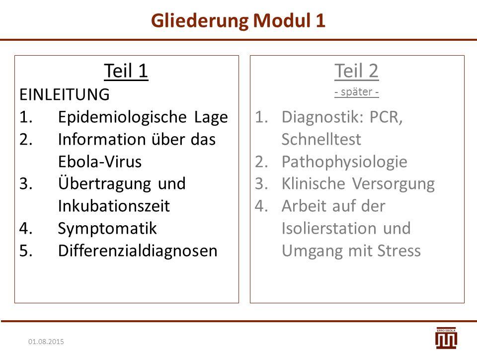 Gliederung Modul 1 Teil 1 Teil 2 EINLEITUNG Epidemiologische Lage