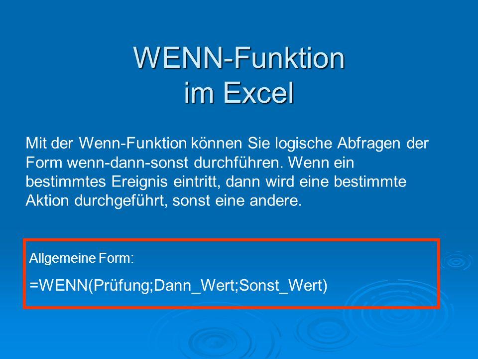 WENN-Funktion im Excel