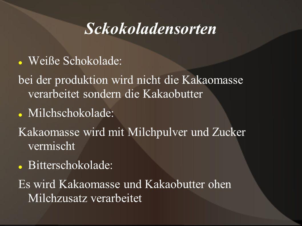Sckokoladensorten Weiße Schokolade: