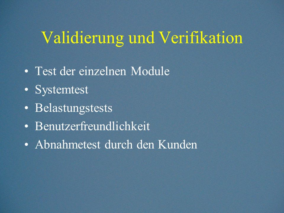 Validierung und Verifikation