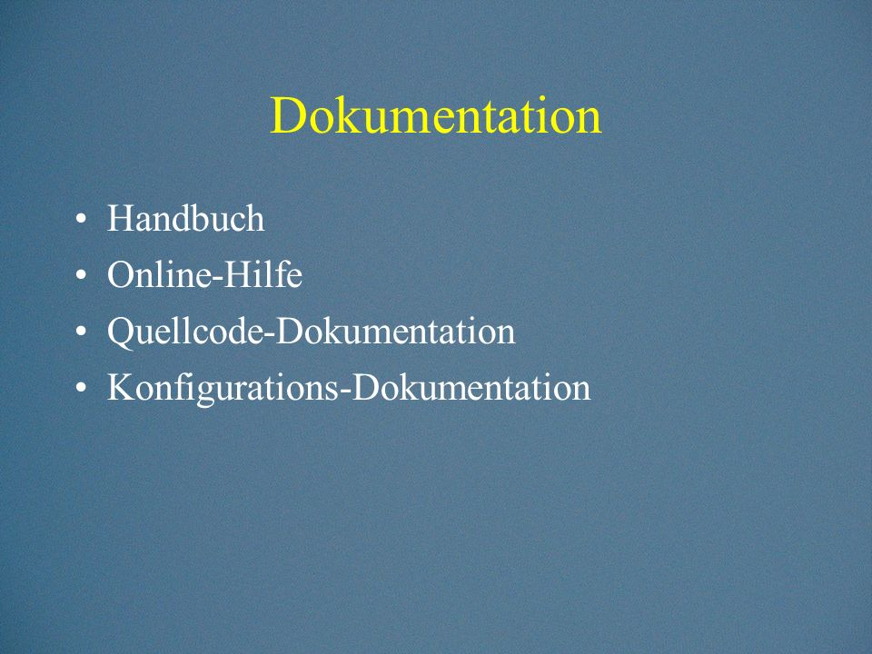 Dokumentation Handbuch Online-Hilfe Quellcode-Dokumentation