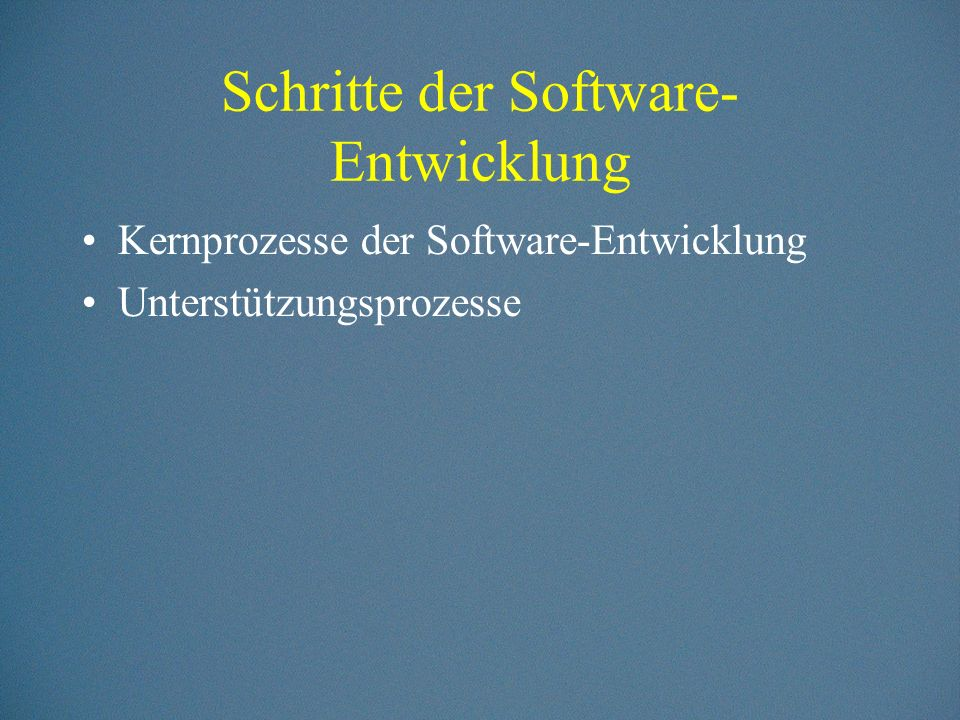 Schritte der Software-Entwicklung