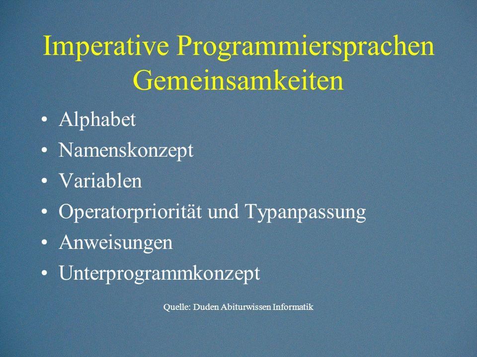 Imperative Programmiersprachen Gemeinsamkeiten