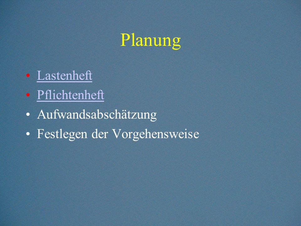 Planung Lastenheft Pflichtenheft Aufwandsabschätzung