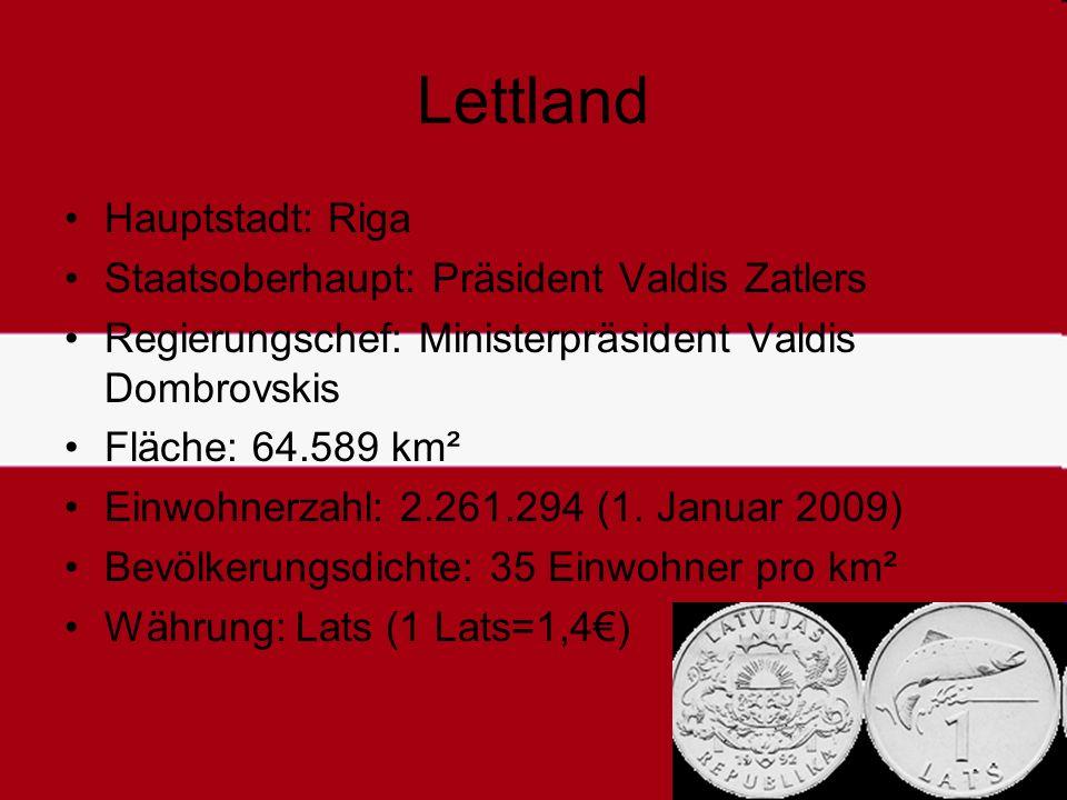 Lettland Hauptstadt: Riga Staatsoberhaupt: Präsident Valdis Zatlers