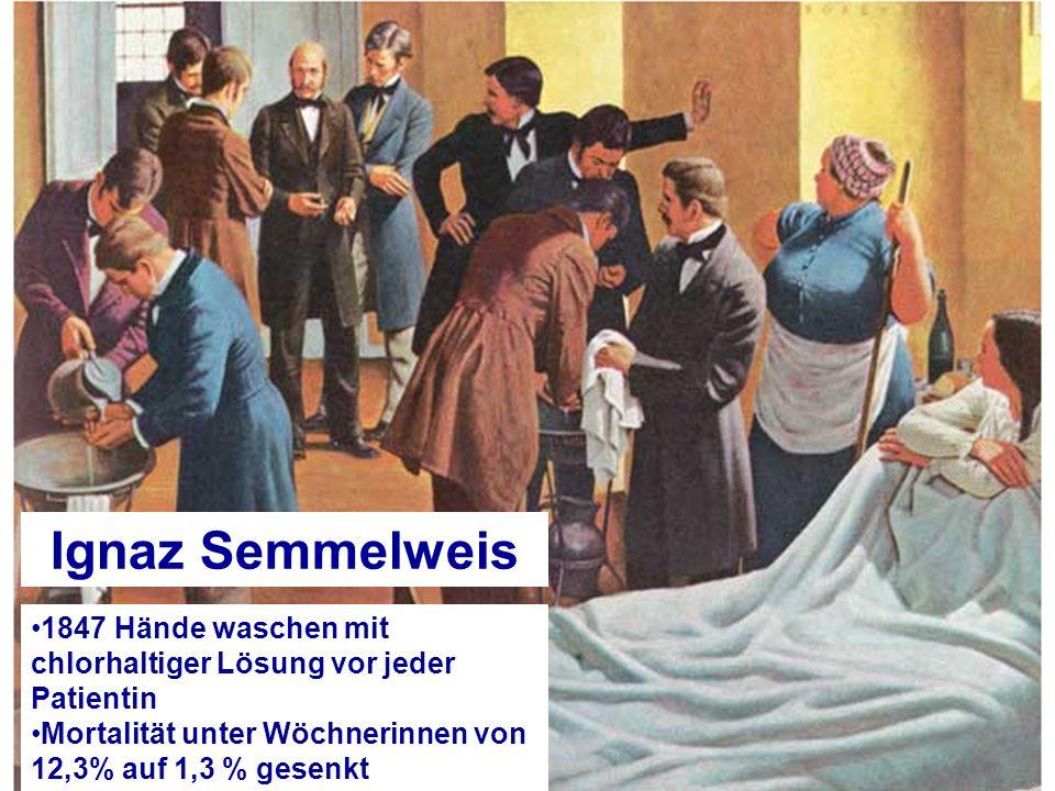 Ignaz Semmelweis 1847 Hände waschen mit chlorhaltiger Lösung vor jeder Patientin.