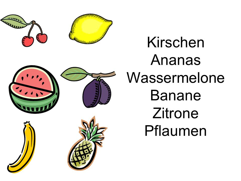 Kirschen Ananas Wassermelone Banane Zitrone Pflaumen