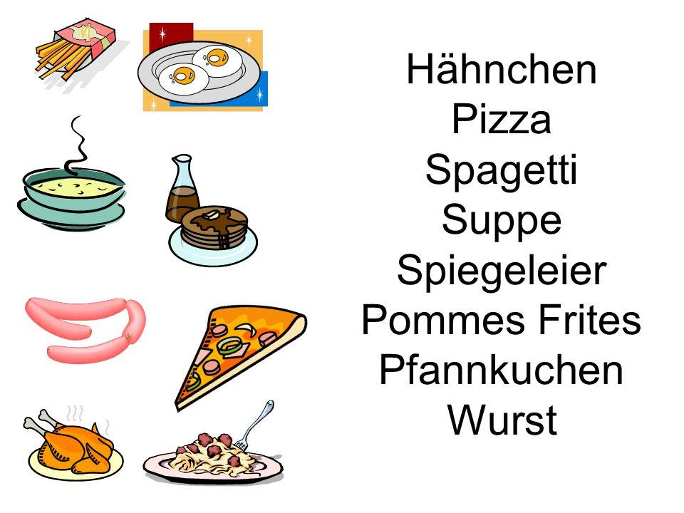 Hähnchen Pizza Spagetti Suppe Spiegeleier Pommes Frites Pfannkuchen Wurst