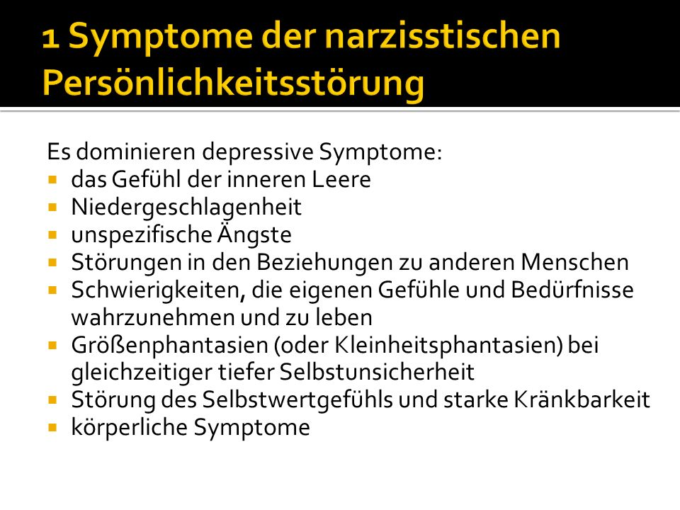 1 Symptome der narzisstischen Persönlichkeitsstörung