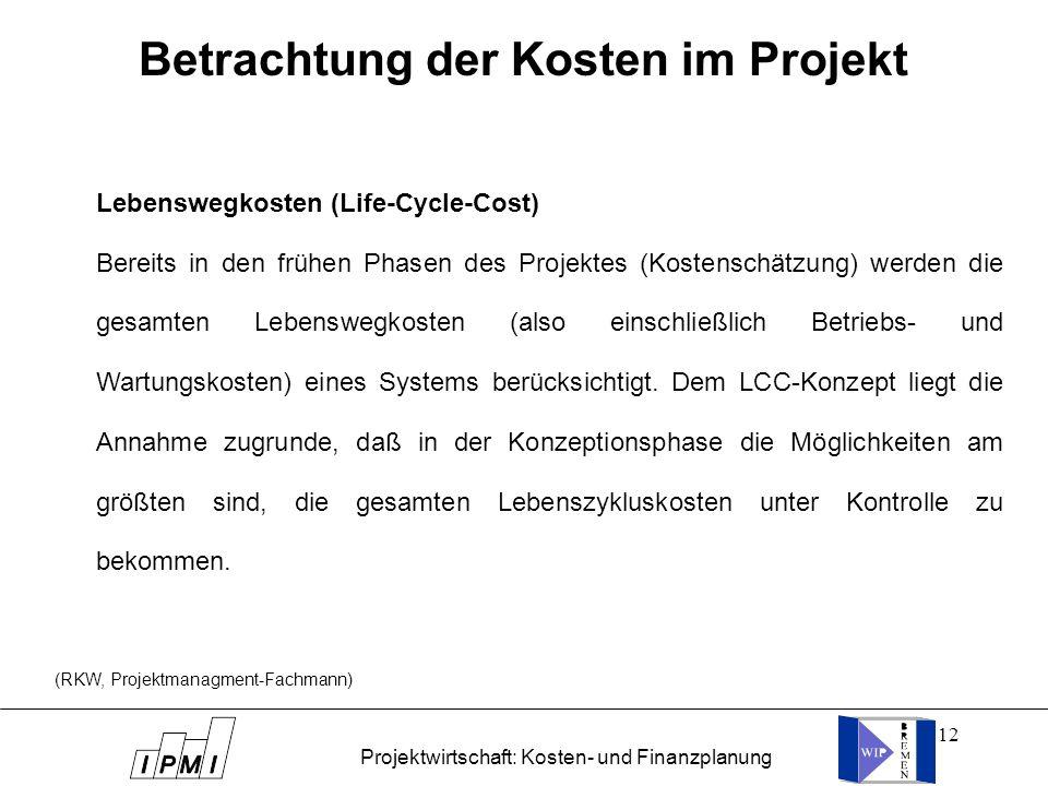 Betrachtung der Kosten im Projekt