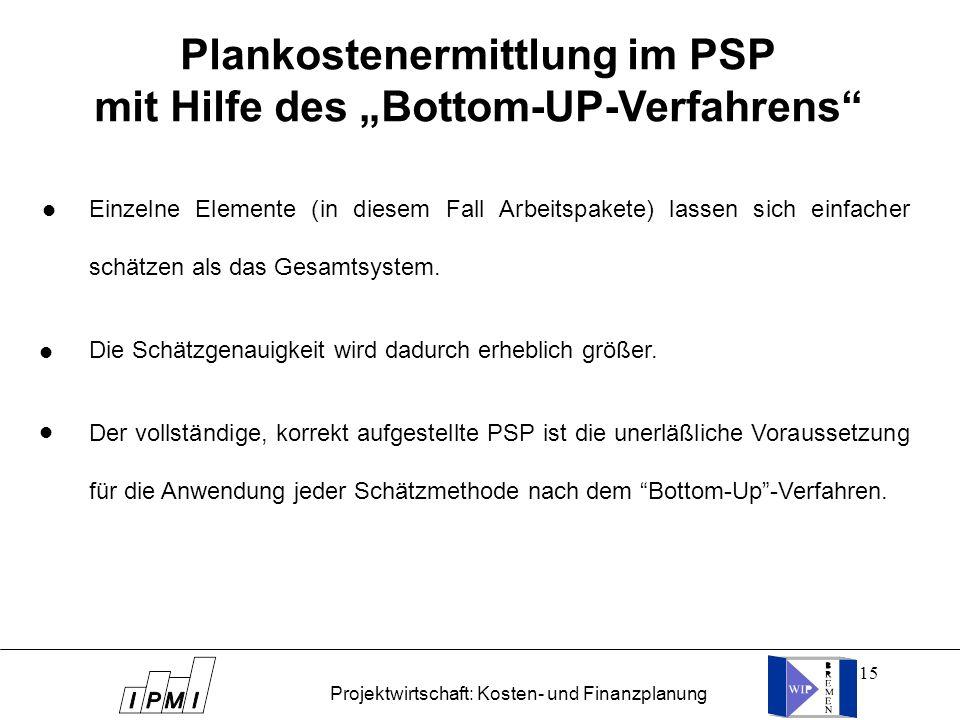 """Plankostenermittlung im PSP mit Hilfe des """"Bottom-UP-Verfahrens"""
