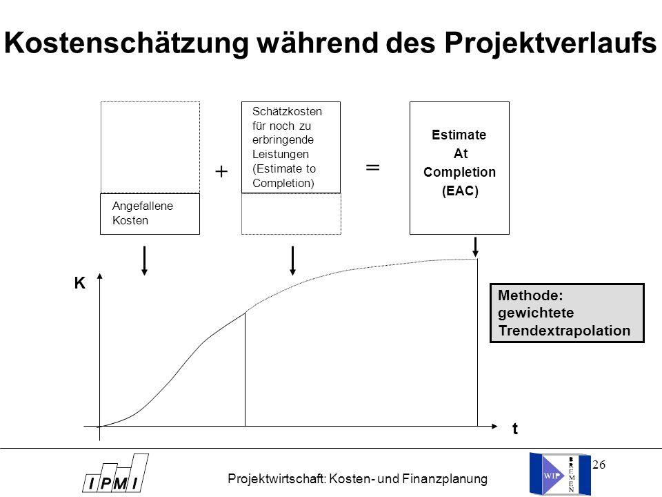Kostenschätzung während des Projektverlaufs