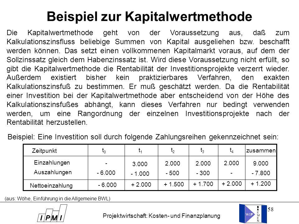 Beispiel zur Kapitalwertmethode