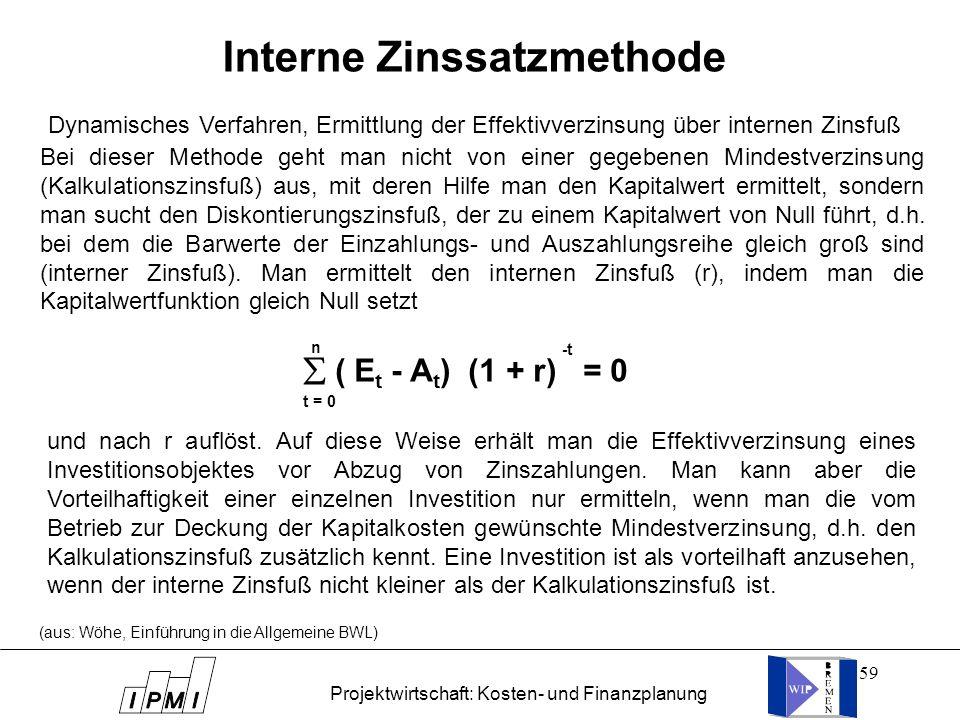 Interne Zinssatzmethode