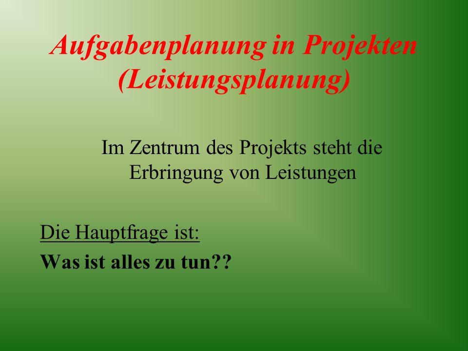 Aufgabenplanung in Projekten (Leistungsplanung)