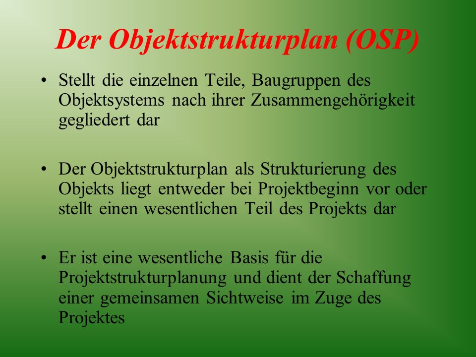 Der Objektstrukturplan (OSP)