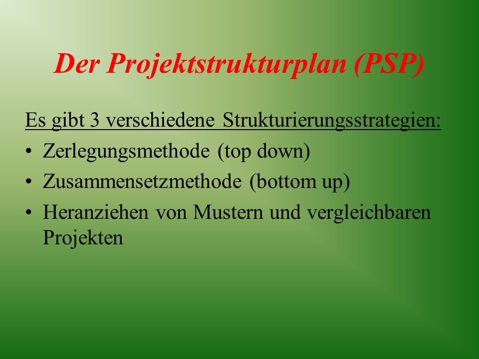 Der Projektstrukturplan (PSP)