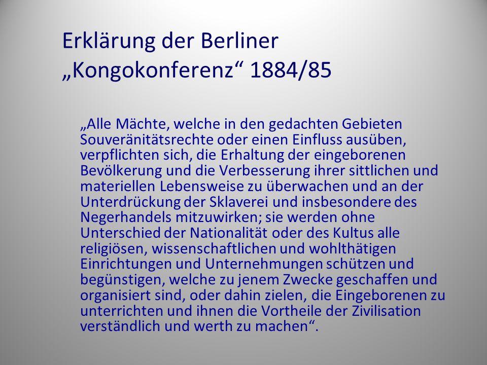 "Erklärung der Berliner ""Kongokonferenz 1884/85"