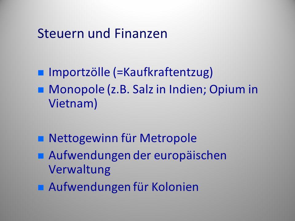 Steuern und Finanzen Importzölle (=Kaufkraftentzug)