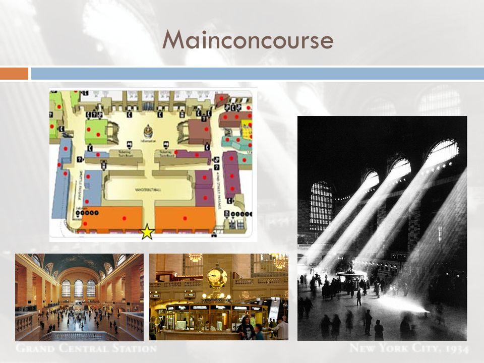 Mainconcourse 12-stöckige Bahnhofshalle ist 142 m lang, 50 m breit und 46 m hoch. 25 m hohen Fenstern.