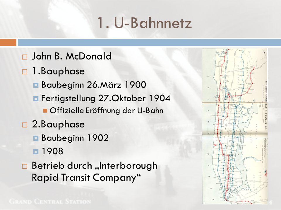 1. U-Bahnnetz John B. McDonald 1.Bauphase 2.Bauphase