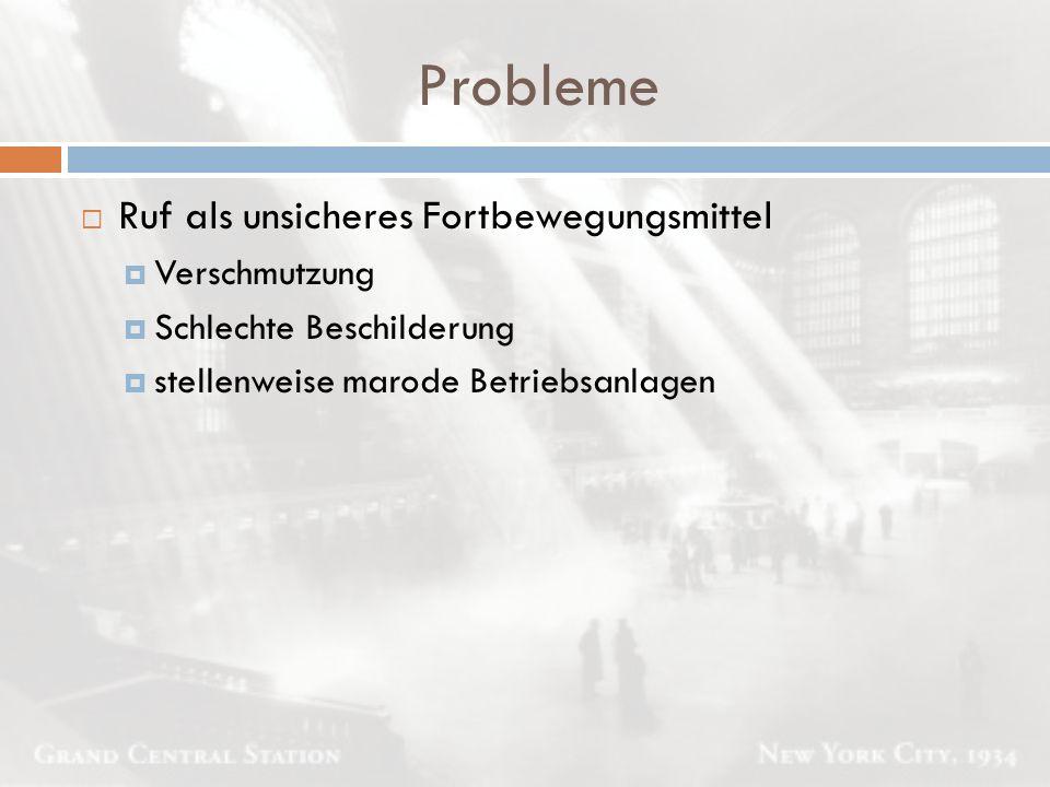 Probleme Ruf als unsicheres Fortbewegungsmittel Verschmutzung
