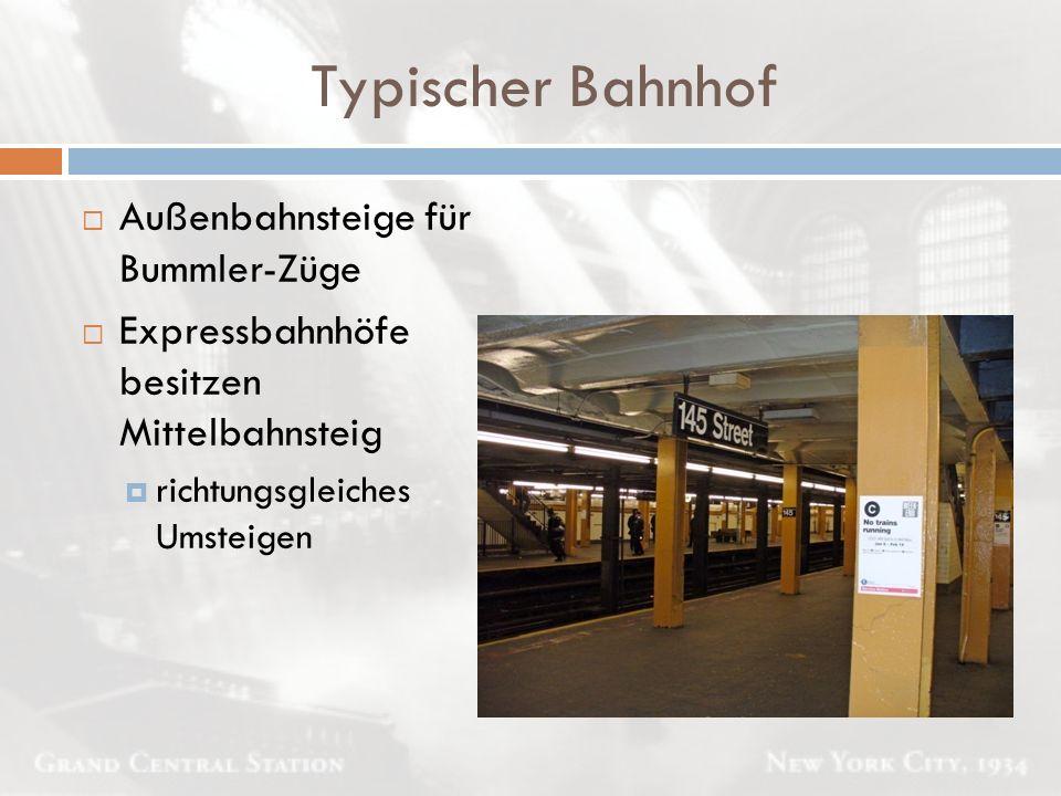 Typischer Bahnhof Außenbahnsteige für Bummler-Züge