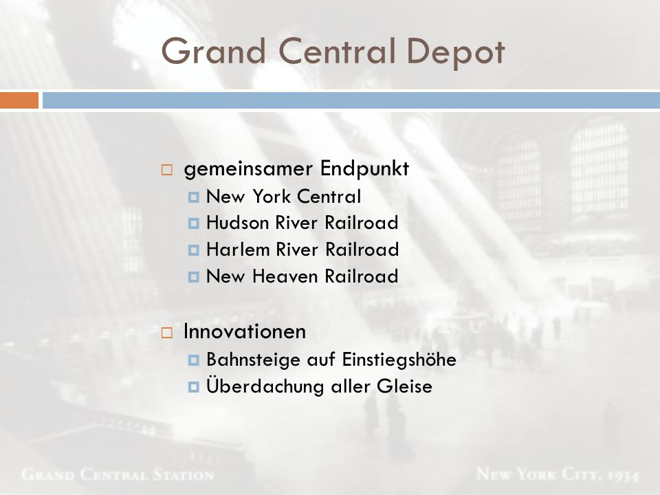 Grand Central Depot gemeinsamer Endpunkt Innovationen New York Central