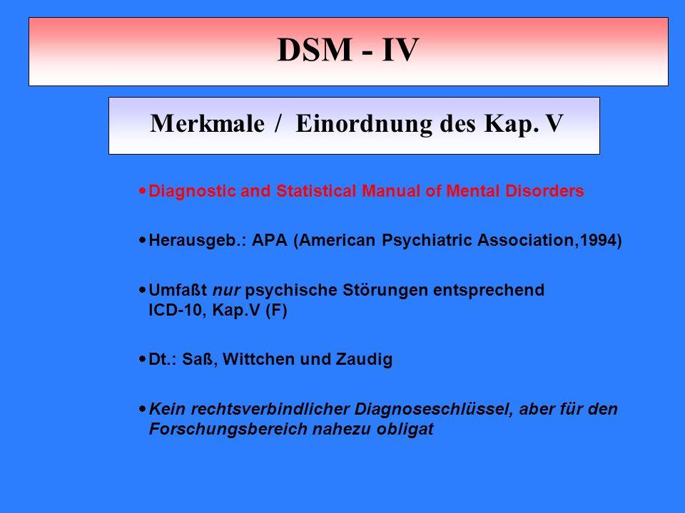 Merkmale / Einordnung des Kap. V