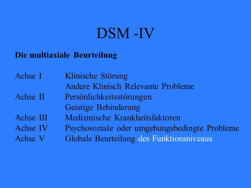 DSM -IV Die multiaxiale Beurteilung Achse I Klinische Störung