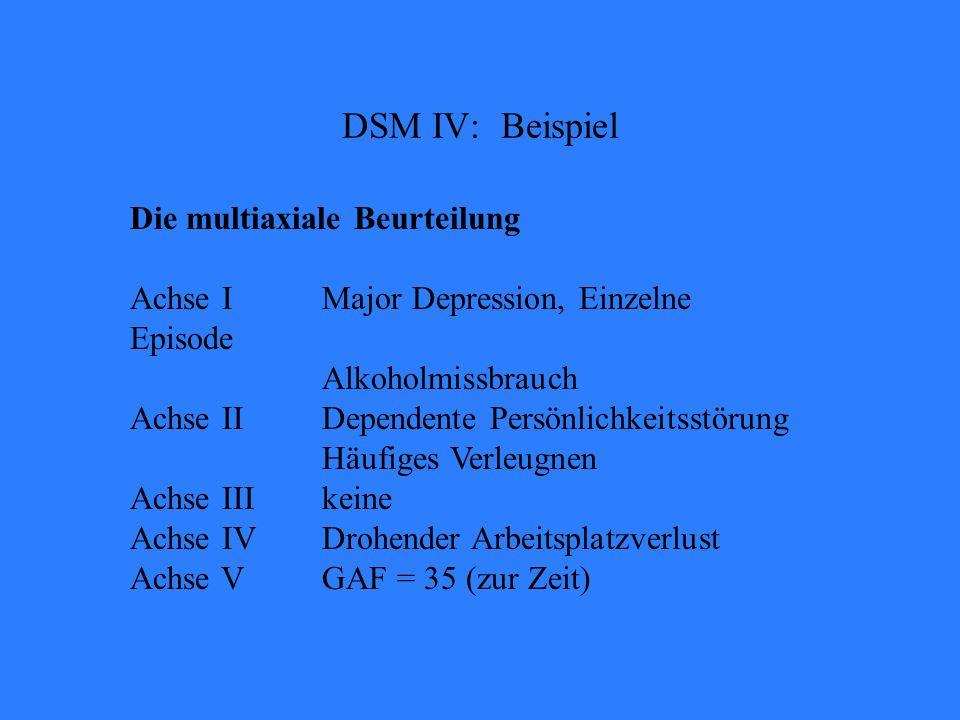 DSM IV: Beispiel Die multiaxiale Beurteilung