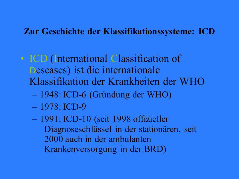 Zur Geschichte der Klassifikationssysteme: ICD