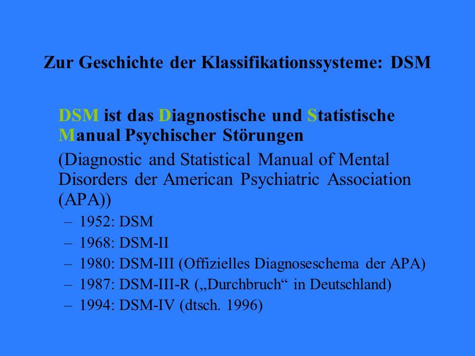 Zur Geschichte der Klassifikationssysteme: DSM