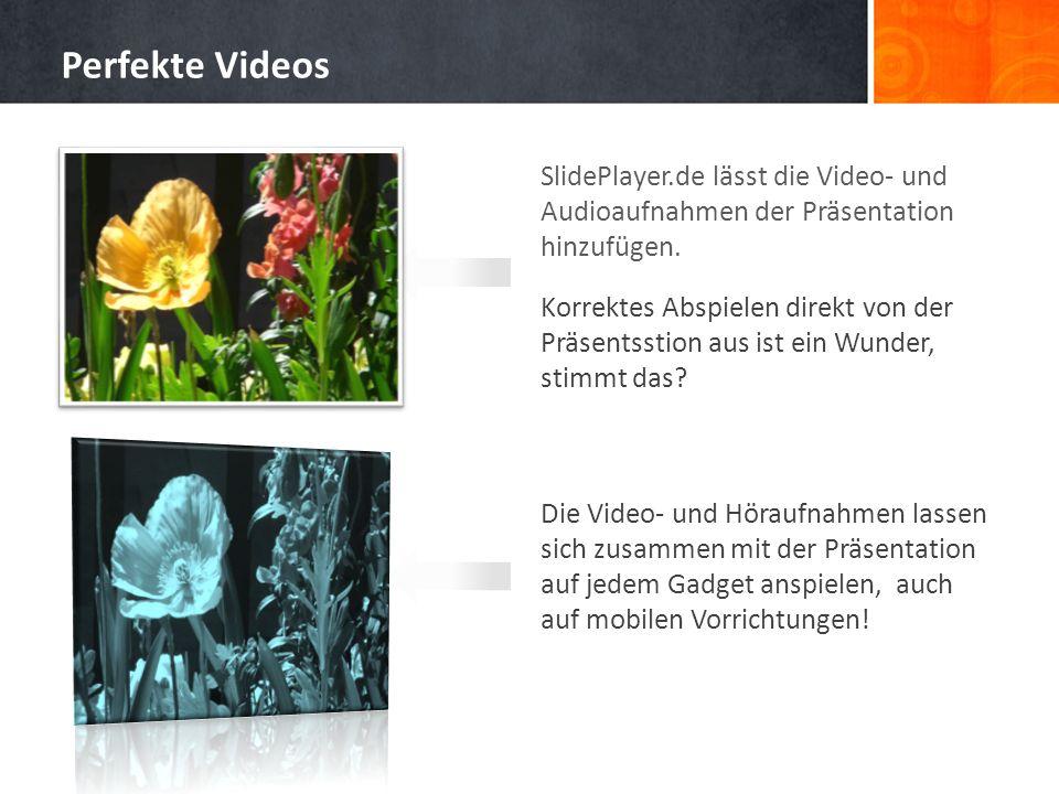 Perfekte VideosSlidePlayer.de lässt die Video- und Audioaufnahmen der Präsentation hinzufügen.