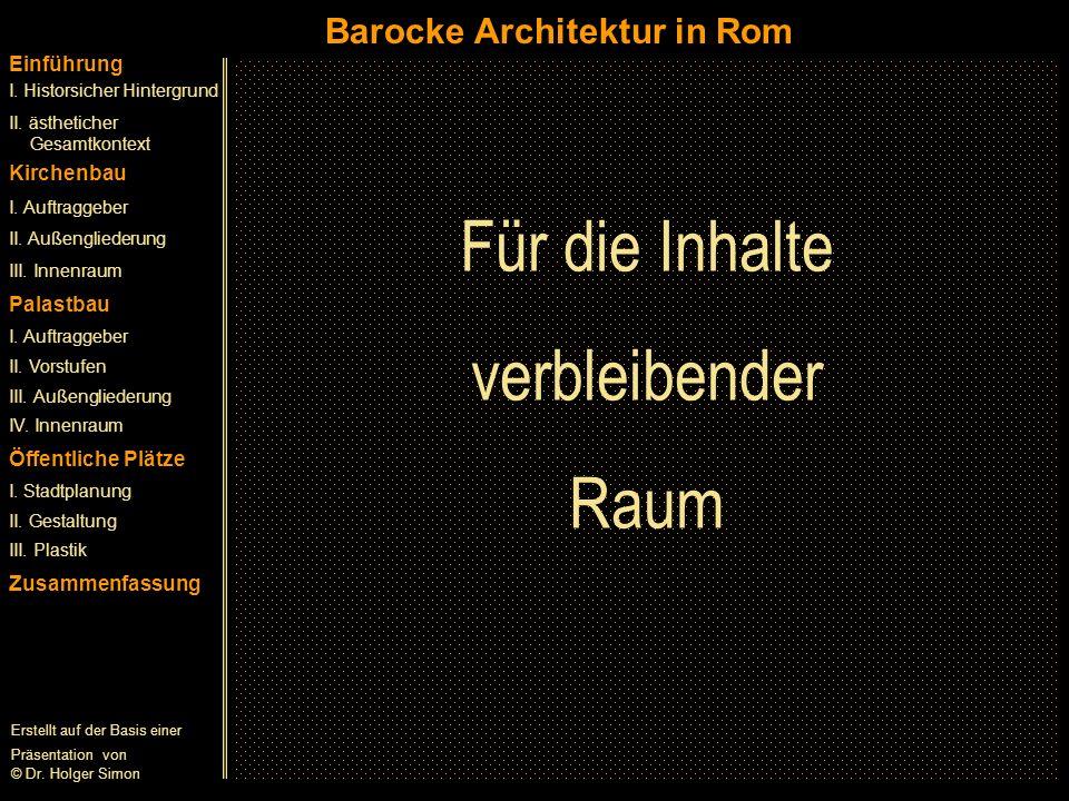 Für die Inhalte verbleibender Raum Barocke Architektur in Rom
