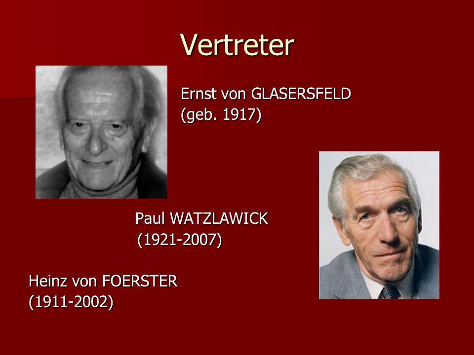 Vertreter Ernst von GLASERSFELD (geb. 1917) Paul WATZLAWICK