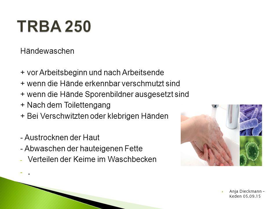 TRBA 250 . Händewaschen + vor Arbeitsbeginn und nach Arbeitsende