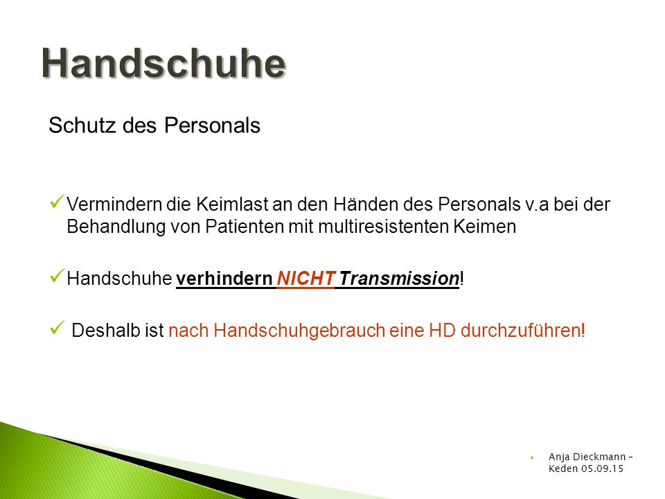 Handschuhe Schutz des Personals