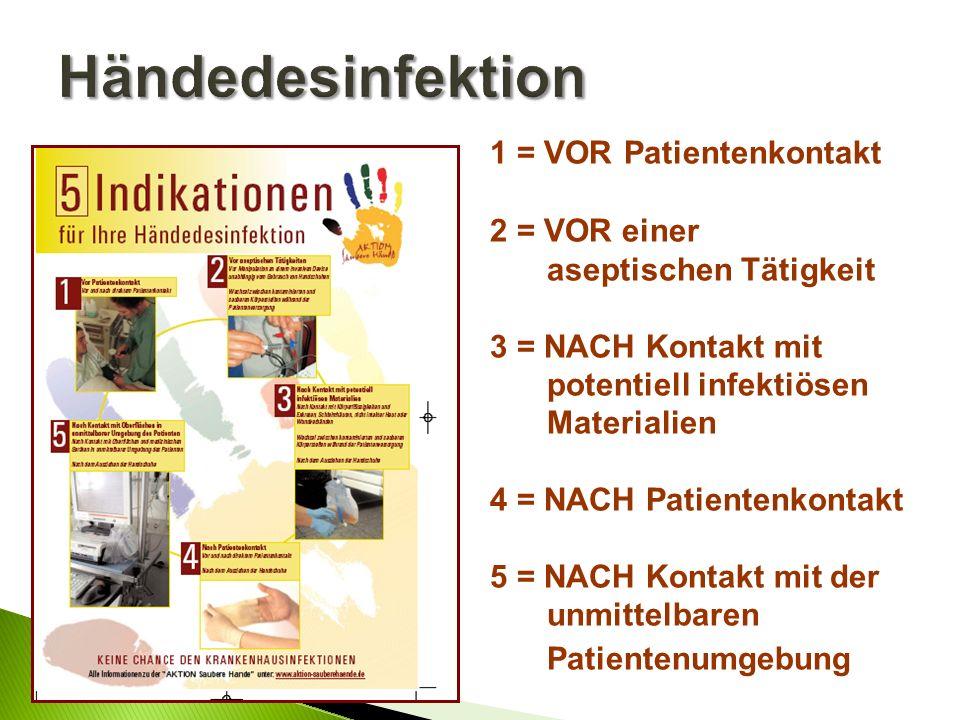 Händedesinfektion 1 = VOR Patientenkontakt