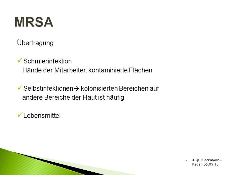 MRSA Übertragung Schmierinfektion
