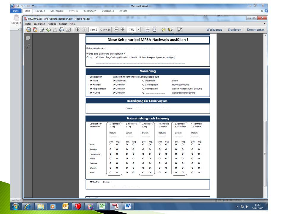 Zu finden unter: Intranet Dokumente-E-Learning Funktionsbereiche Hygiene unter Formulare