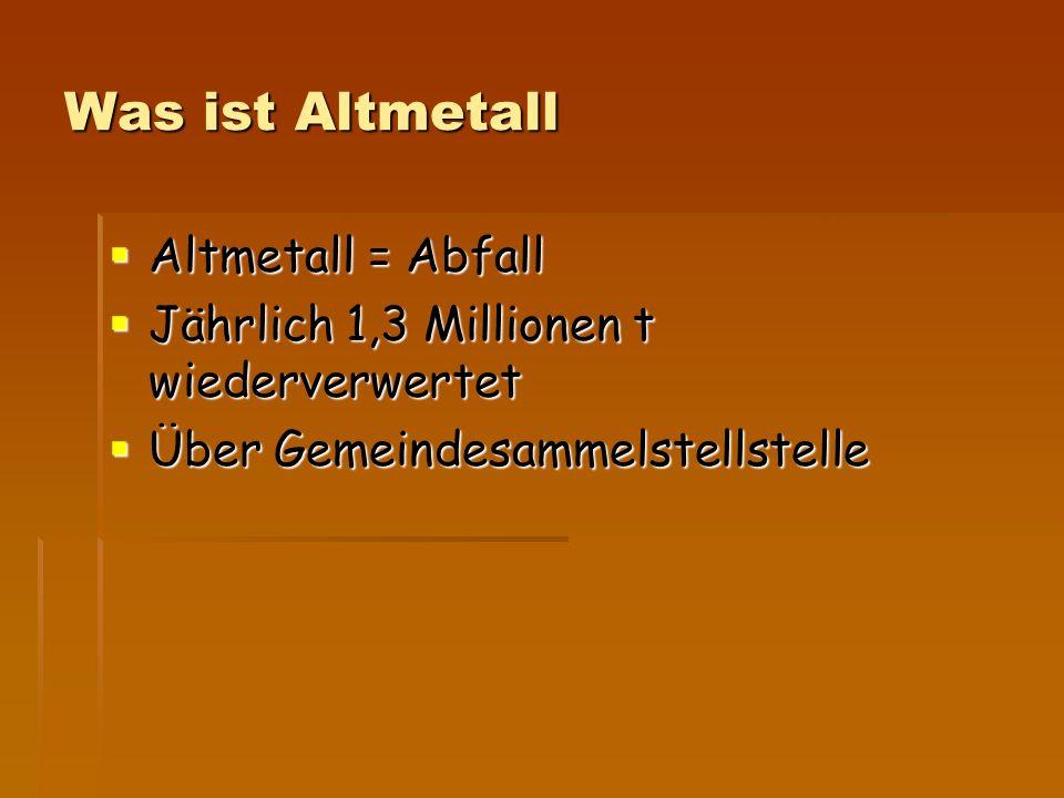 Was ist Altmetall Altmetall = Abfall