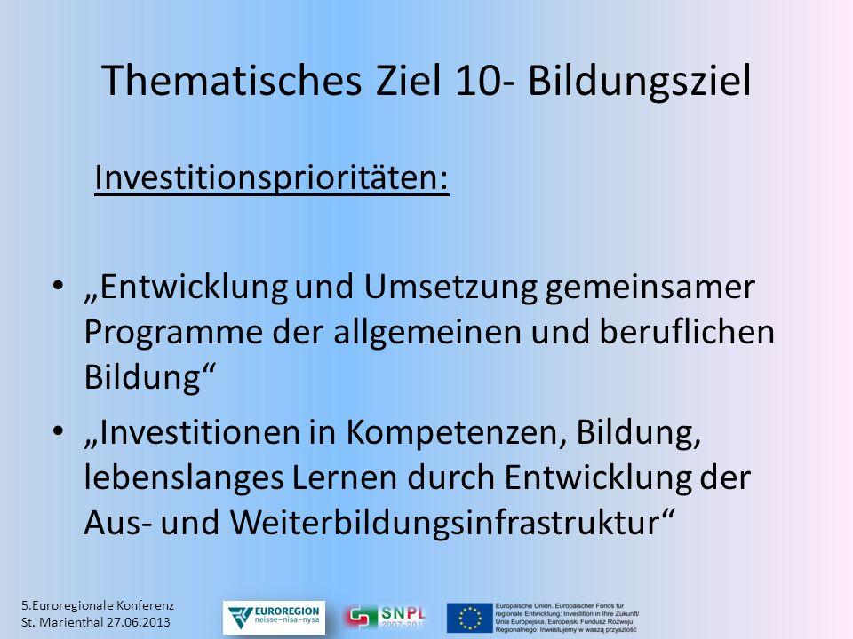 Thematisches Ziel 10- Bildungsziel