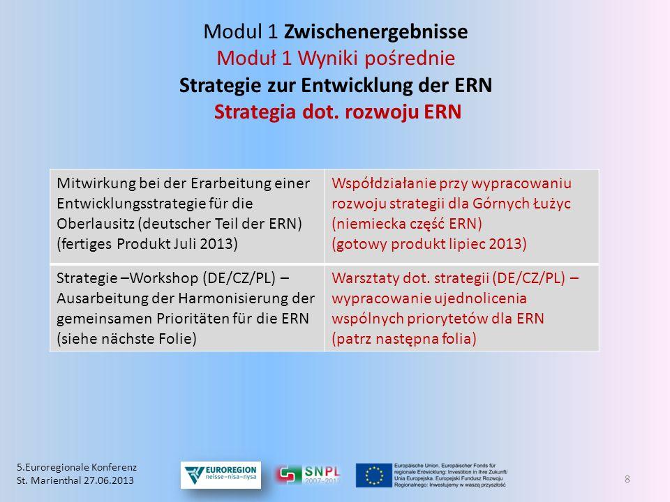 Modul 1 Zwischenergebnisse Moduł 1 Wyniki pośrednie Strategie zur Entwicklung der ERN Strategia dot. rozwoju ERN