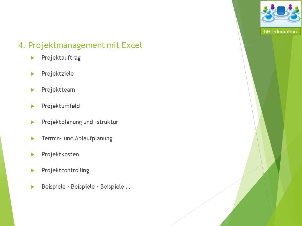 4. Projektmanagement mit Excel